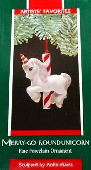 Hallmark 1989 Edition Merry Go Round Unicorn Christmas Tree Ceramic Figurine Ornament - Rare Vintage Holiday Collectible Decoration ()