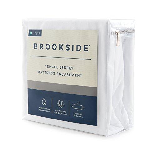 Brookside Tencel Jersey Encasement Mattress Protector - Repels Liquids, Allergens, Dust Mites, and Bed Bugs - Reinforced Zipper and Seams - Hypoallergenic - 10 Year U.S. Warranty - Split Cal King