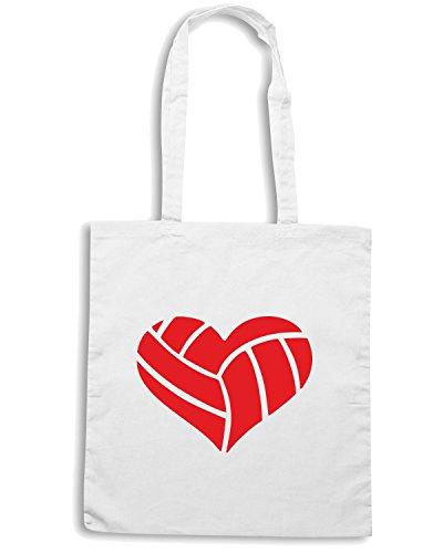 T-Shirtshock - Bolsa para la compra SP0142 Volleyball Heart Maglietta Blanco