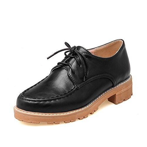 Balamasa Dames Vierkante Hakken Bandage Platform Urethaan Oxfords-schoenen Zwart