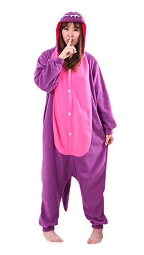 - Honeystore Unisex New Dinosaur Animal Cosplay Costume Onesies Pajamas Halloween Purple XL