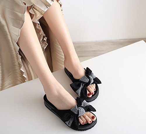 degli donna a femminile di fuori parola LIANGXIE colore al puro un fondo Zhhzz farfalla piatto Nero una estate Moda indossare Pantofole trascinare nuova del nodo studenti di di qw1qfYZ