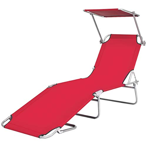 Goplus Folding Chaise Lounge Chair Adjustable Outdoor Recliner w/Detachable Canopy for Pool Lawn Yard Patio Beach Camping (Red) (Outdoor Recliner Chairs Best Price)