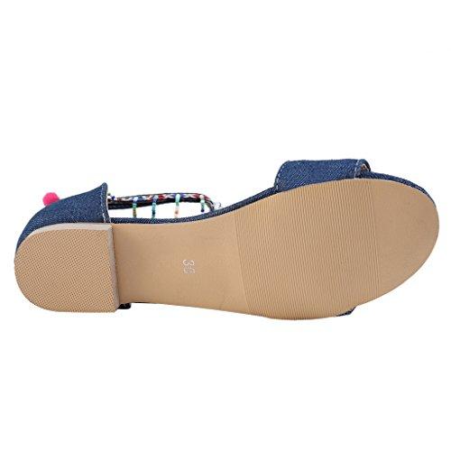 new style e0de6 aee54 ... Cher Temps Été Femmes Chaussures Denim Frange Bohème Pom Pom Sandale  Plate Bleu Foncé ...