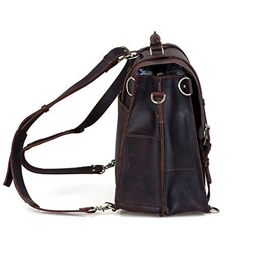 BAIGIO Vintage Leather Luggage Backpack Briefcase Travel Carryon Shoulder Bag (Dark Brown) by BAIGIO (Image #3)