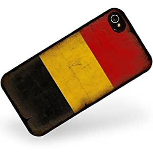 Rubber Case for iphone 4 4s Belgium Flag with a vintage look - Neonblond
