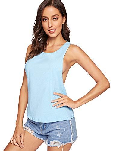 - SweatyRocks Women's Sleeveless Flowy Loose Fit Racerback Yoga Workout Tank Top Blue#2 L