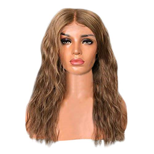 Inkach Long Wavy Wig with Baby Hair Middle Part Lace Front Hair Wigs Heat Resistant Synthetic Fiber for Black Women Costume Party Curly Wig (Brown-B) -
