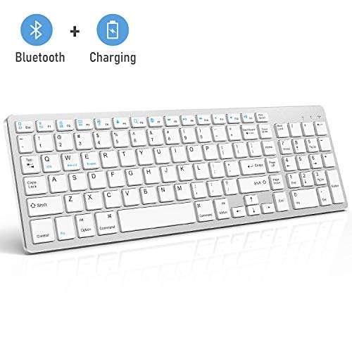 (Bluetooth Keyboard, Jelly Comb Rechargeable Slim BT Wireless Keyboard with Number Pad Full Size Design for Laptop Desktop PC Tablet, Windows iOS Android-White and Silver)