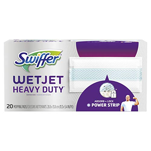 (Swiffer Wetjet Heavy Duty Mop Pad Refills for Floor Mopping and Cleaning, All Purpose Multi Surface Floor Cleaning Product, 20 Count (Packaging May)