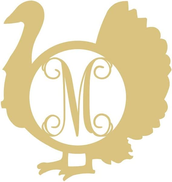 "Turkey Monogram Unfinished Wood Home Decor Thanksgiving Door Hanger MDF Shaped Canvas Style 1 (12"", M)"