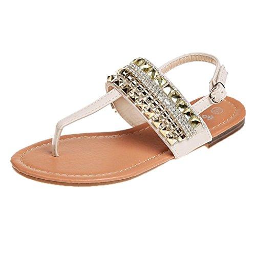 (G&Kshop Thong Sandals,Women Wide Width Flat Sandal Flip Flop Open Toe T-Ankle Strap Flexible Shoes (7.5B(M) US, Beige))