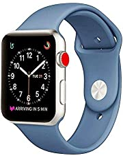 Smart Watch Band, Soft Silicone iWatch Strap Replacement Sport Band for Smart Watch Band Series 3 Series 2 Series 1 (42MM-Blue)