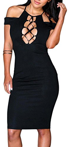 IF FEEL Womens Sexy Lace Up Bodycon Hollow-out Dress Evening Party Midi Dress ((US 12-14)L, Black)