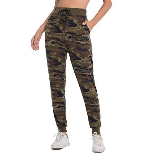 JTANIB Jogger Pants for Women, Active Lounge Drawstring Waist Yoga Leggings Sweatpants with Pockets,Camo M