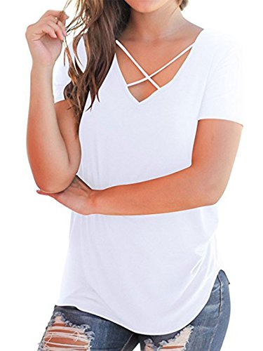 PORALA Women's Short Sleeve T-Shirt Tops Casual Summer Solid Criss Cross V-Neck Tee Shirts White Medium (Plain White Tees T-shirts)