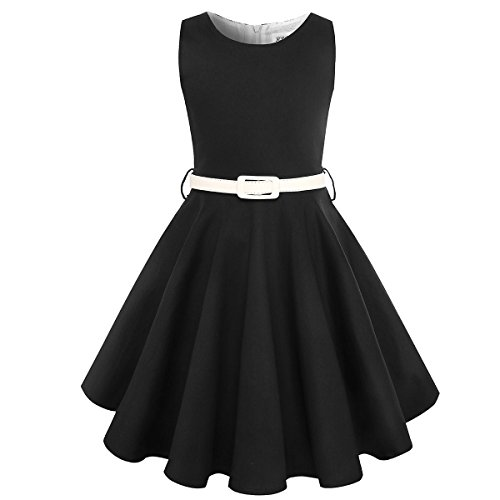 Girls Vintage Swing Dress with Belt Audrey Hepburn 1950s Style (Solid Black, Size 5-6)]()