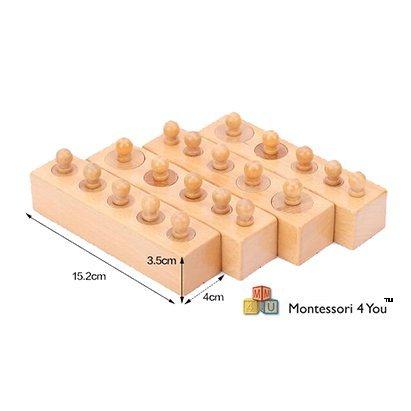 Materiale Montessori, Incastri Solidi -Family Set- Set di 4 Mini Cilindri
