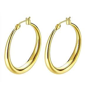 Hoop Earrings, 18K Gold Plated Rounded Hoops Earrings for Women Jewelry 1.4″