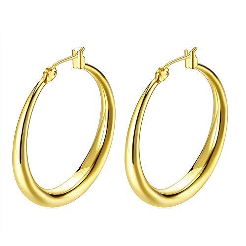 Hoop Earrings, 18K Gold Plated Rounded Hoops Earrings for Women Girls Jewelry 1.4in ()