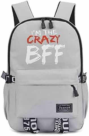 YOURNELO Boy s Girl s Fashion Personality High Capacity Laptop Bag School  Backpack Rucksack (BFFGrey) 6df039431c