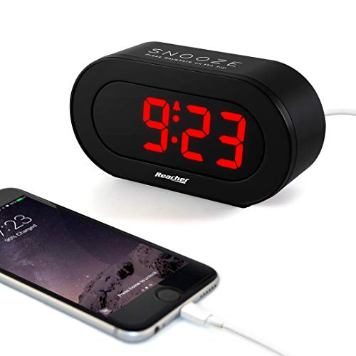 REACHER Small LED Digital Alarm Clock with Simple Operation, Full Range Brightness Dimmer, USB Phone Charger Port, Easy Snooze, Adjustable Alarm Volume, Outlet Powered for Bedrooms Bedside(Black)