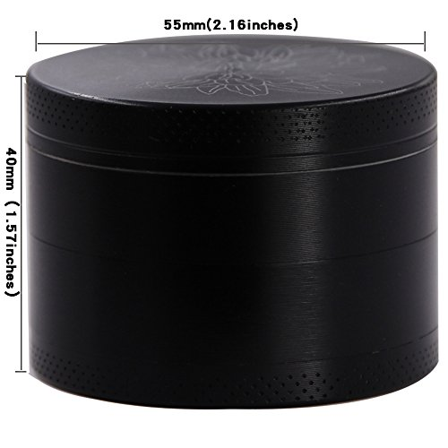 DCOU New Design Premium Zinc Alloy Herb Tobacco Weed Grinder 2.2 Inches 4 Piece Metal Grinder with Pollen Catcher with Laser Flower Pattern Black