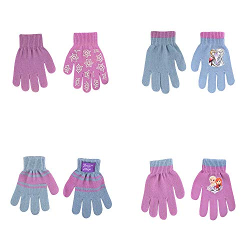 Disney Assorted Character Designs 4 Pair Gloves or Mittens Cold Weather Set, Little Girls, Age 2-7 (Frozen - 4 Pair Gloves Design Set)
