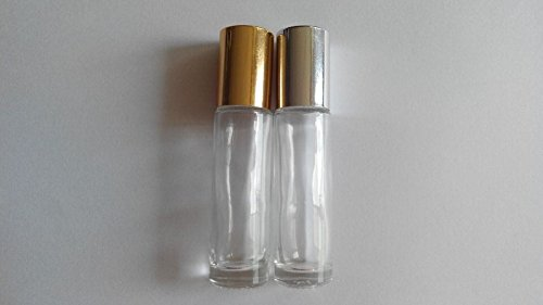 Sprite Science™18 Empty Glass 10ml Roll-on Perfume Bottles Roller Bottles with Balls and Caps(gloden&silver Assorted)