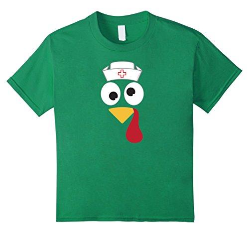 [Kids Nurse Thanksgiving Shirt Turkeys Wear Nursing Cap 10 Kelly Green] (Psych Nurse Costume)