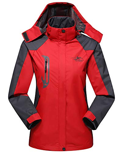 Hood Red Womens Women Pockets Unisex Sleeve Jacket Long Softshell Waterproof with Mens AnyuA amp; Zqz4tO1