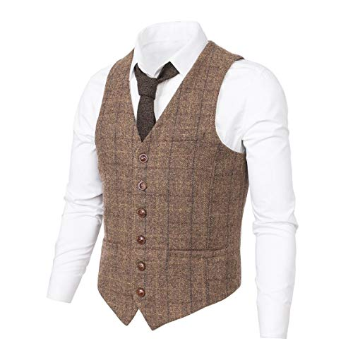 t Herringbone Tweed Suits Vest Premium Wool Blend Waistcoat (Brown Plaid, S) ()