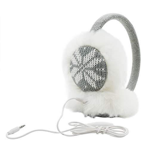 Women Ladys Knit Snowflake Design Soft Furry Ear Muffs Headphones Music Gray One Size