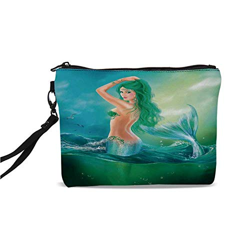 (Mermaid Decor Simple Cosmetic Bag,Mermaid in Ocean on Waves Tail Sea Creatures Dramatic Sky Dark Clouds for Women,9