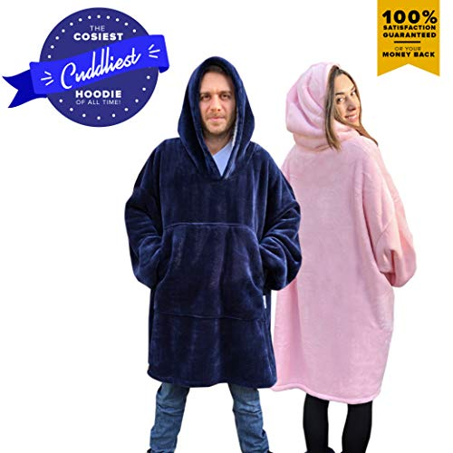 Snuggle Hoodie-Sweatshirt Blanket. The Most Comfortable Wearable Sherpa Giant/Oversized Sweatshirt Blankets Hoodie with Large Pockets and Sleeves for Adults Men, Women, Teens and Kids (Blue and Pink) ()