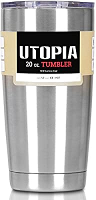Utopia Tumbler - Stainless Steel Double Wall Insulated Large Coffee Mug / Travel Mug for Hot and Cold Drink