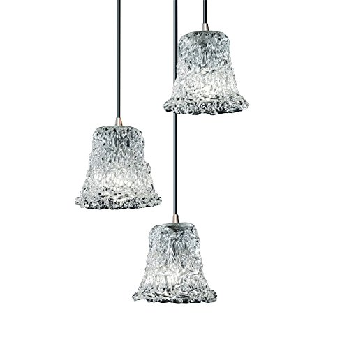 (Justice Design Group Veneto Luce 3-Light Pendant - Brushed Nickel Finish with Lace Venetian Glass Shade )