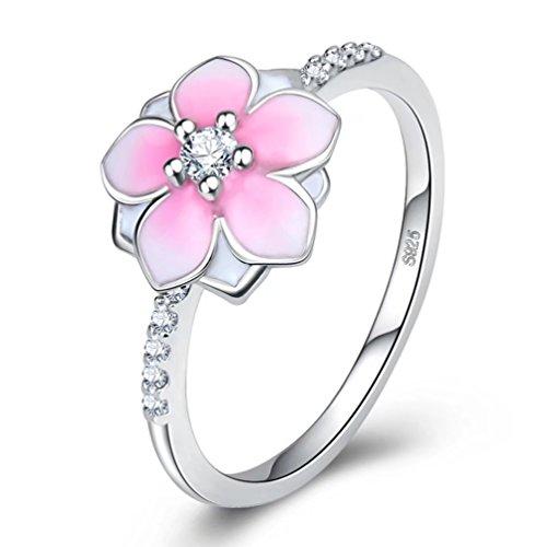 Silver Pink Enamel Ring - 9