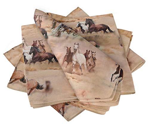 S4Sassy Orange Running Horse Mix Cotton Napkin Printed Everyday Basic Washable Table Linen 18 x 18(Pack of 6)