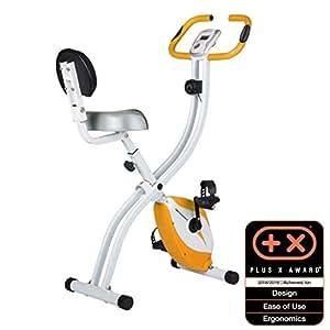 Ultrasport F-Bike 200B Bicicleta estática con sensores de pulso de mano, con respaldo, plegable, Naranja