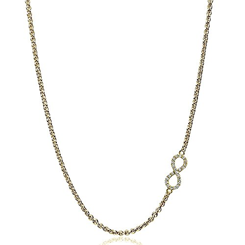 Yellow Gold Flashed Sterling Silver Cubic Zirconia Infinity Figure 8 Sideways Chain Necklace, 16
