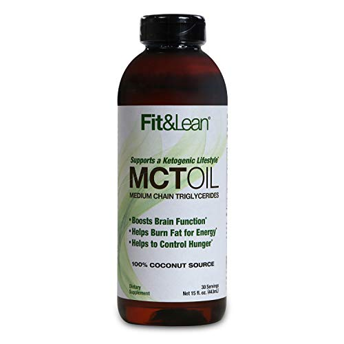 Fit & Lean MCT Oil- 100% Pure Coconut, Ketogenic Fat Burning Energy Source, 15oz, Non-GMO Verified, Keto Diet & Vegan Friendly, Promotes Ketosis, Boosts Energy & Brain Function -  Maximum Human Performance