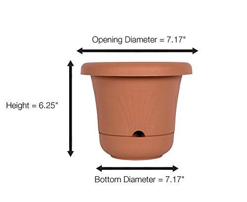 Fiskars 7.2 Inch Bloom Self Watering Planter, Color Clay
