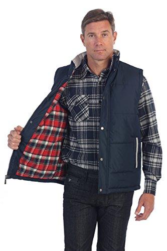 Gioberti Mens Padded Vest with Flannel Lining, Navy, Medium
