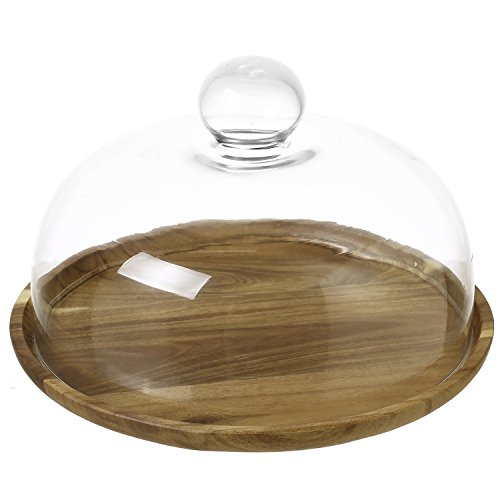 9 Inch Clear Glass Dessert & Cheese Cloche Dome with Acacia Wood Serving Tray ()
