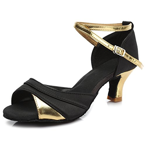Roymall Dames Satijnen Latin Dansschoenen Ballroom Salsa Tango Performance Schoenen, Model 221 5cm Goud