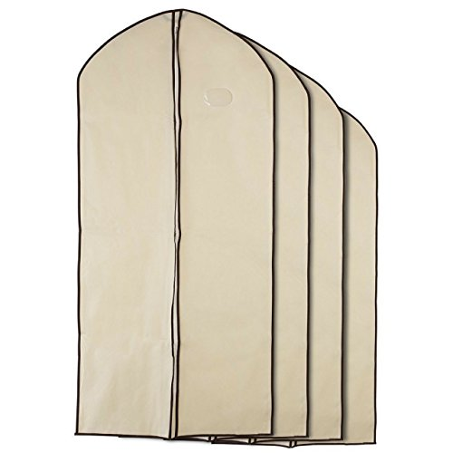 Zone - 4 Pack of Breathable Garment Bag Clothes Covers - Protect Garments, Suits and Costumes - Ideal for Travel - Coffee & Cream Finish - Includes 4 Large Size Garment Bags (130cms 60cms) ()