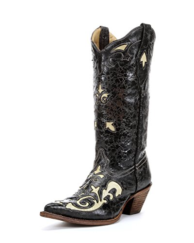 CORRAL Women's C2116 Lizard Inlay Black Fashion Boots 10 ()