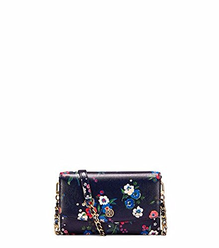Tory Burch Parker Floral Printed Leather Chain Crossbody Wallet, Pansy Bouquet Floral by Tory Burch