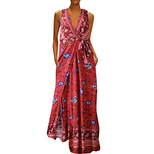 - TOTOD Dress for Women Elegant Floral Print Long Dresses Sleeveless V-Neck Loose Party Maxi Sundress Red